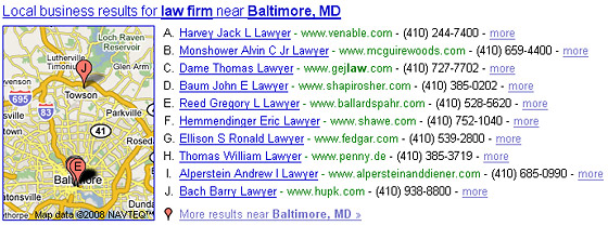 Google Local Results for Law Firm Near Baltimore, MD