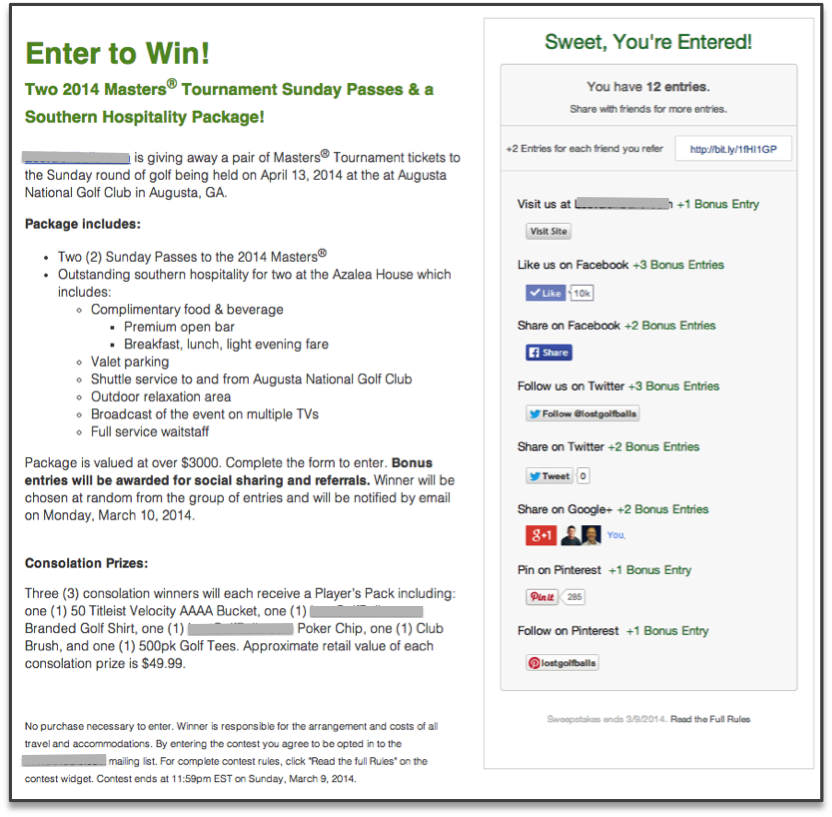 ViralSweep Contest Page