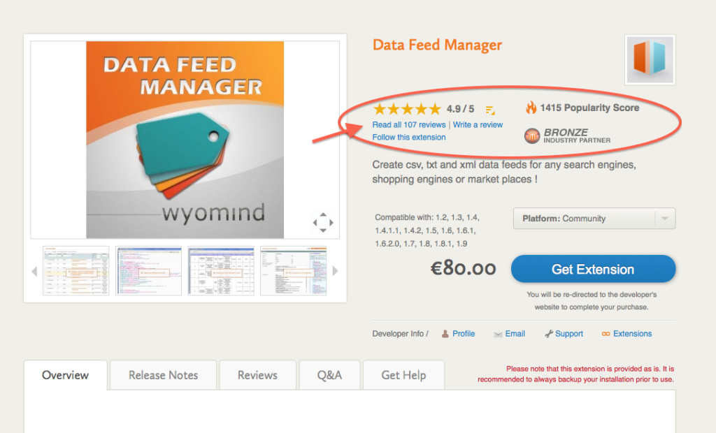 Data Feed Manager on Magento Connect